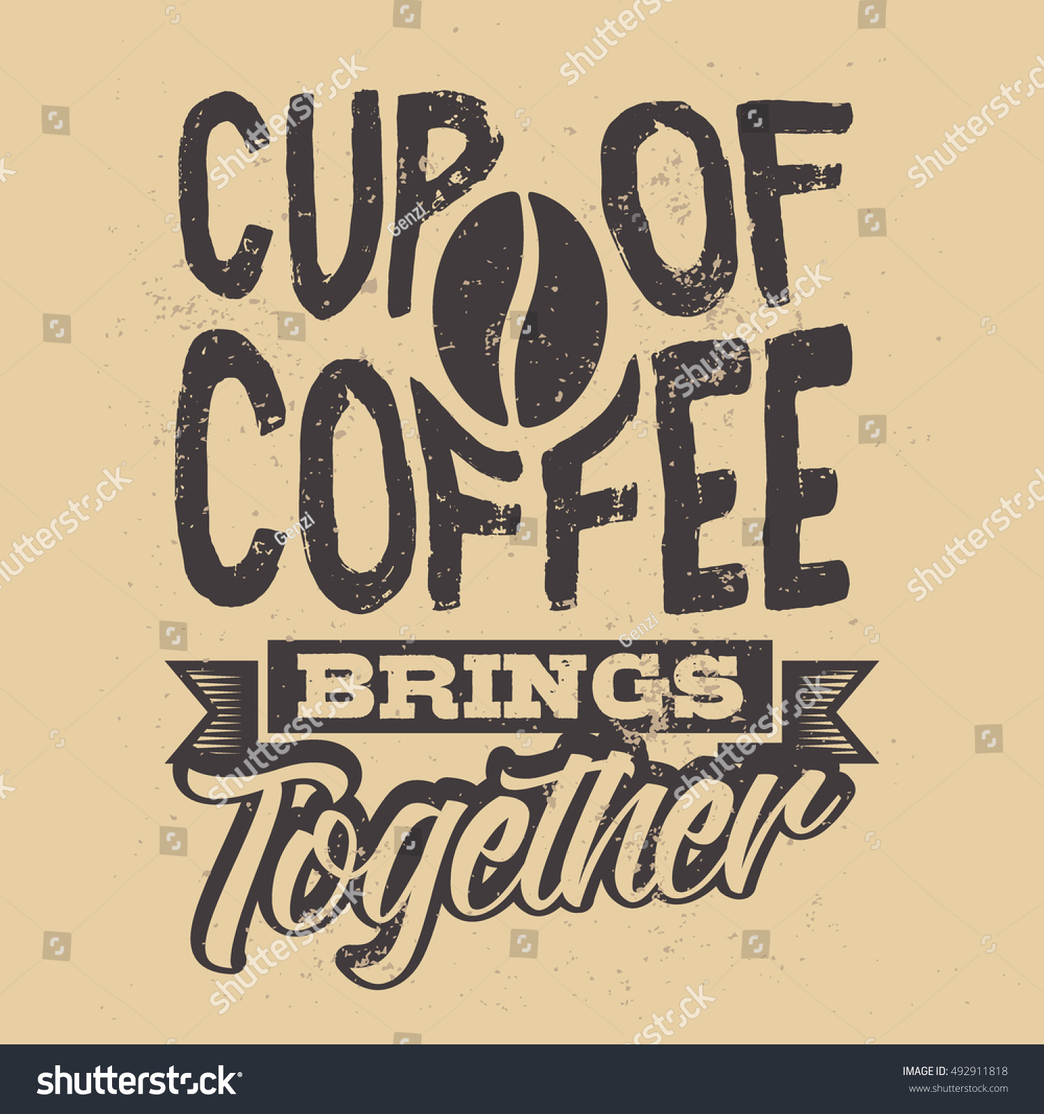 Poster With Hand-drawn Coffee Slogan. Creative Vector ...