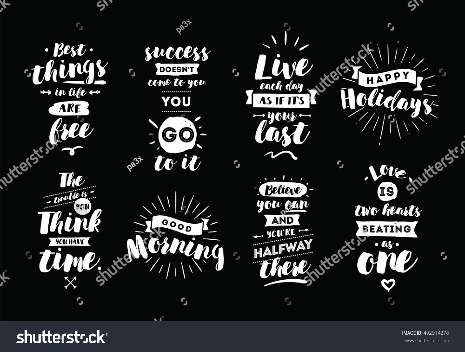 inspirational quotes set motivation typography posters royalty