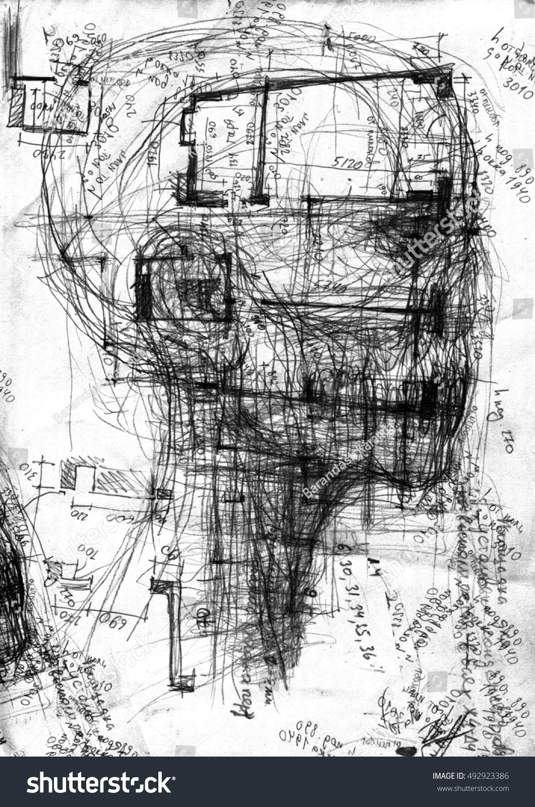 Abstract sketch of the head with the architectural drawing grunge texture