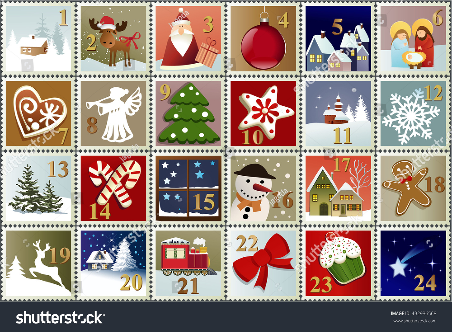 Advent Calendar Christmas Stamp Collection Stock Vector ...