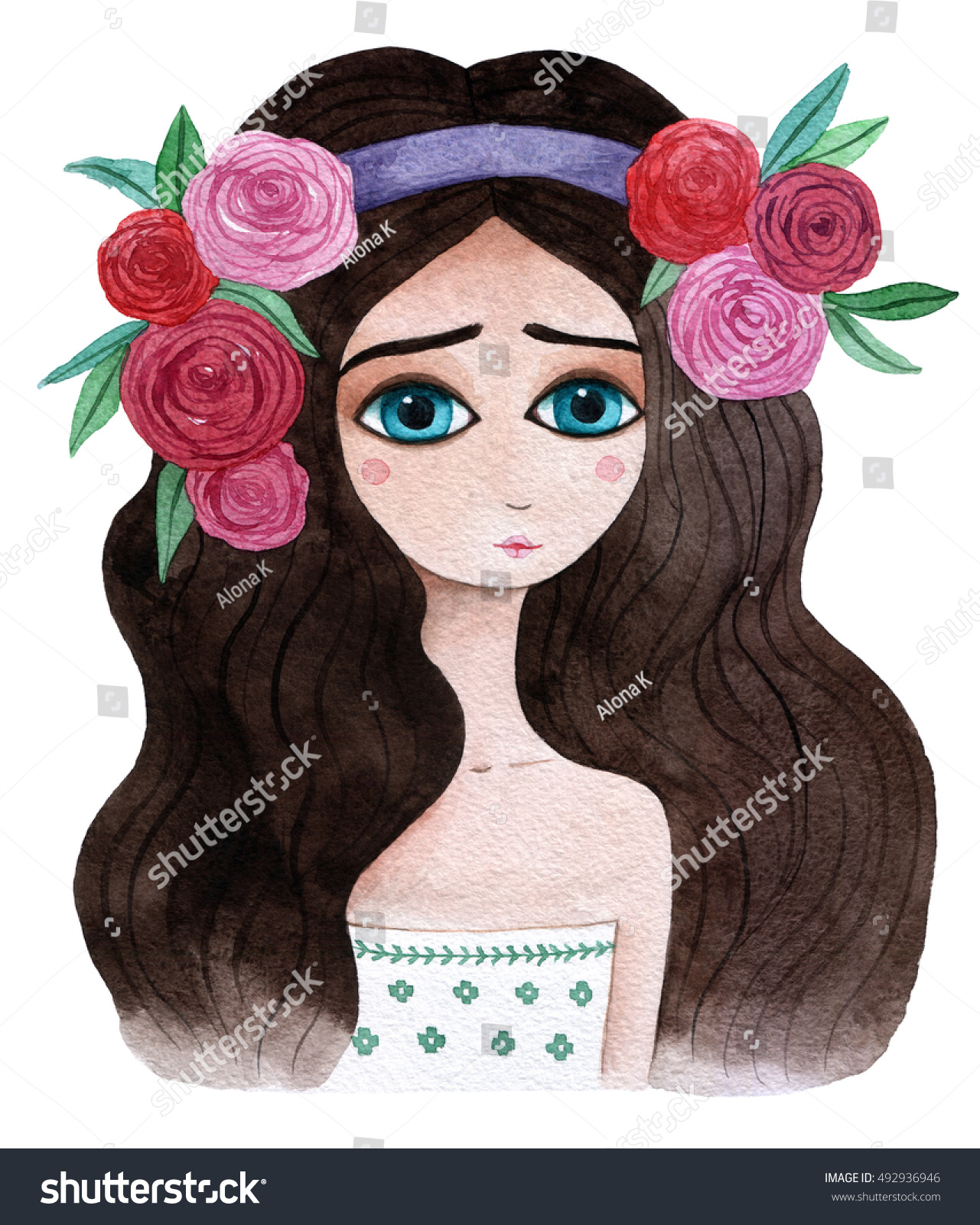 Girls Portrait Watercolor Illustration Hand Drawn 492936946