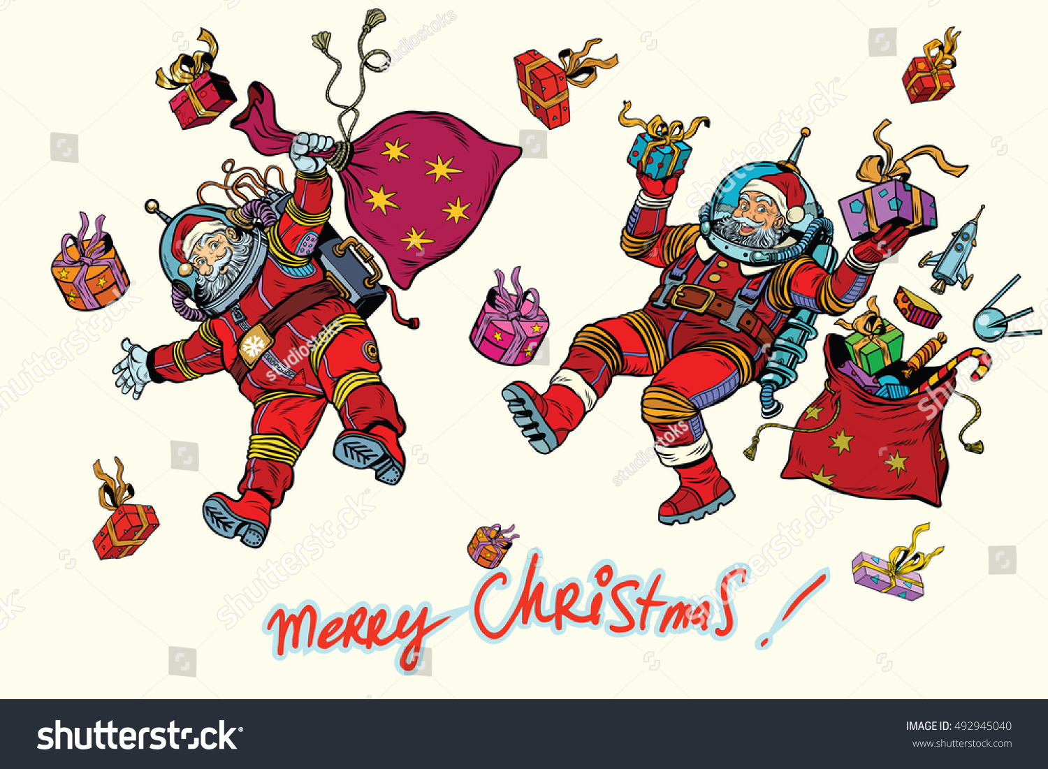 two santa claus gifts merry christmas stock vector 492945040