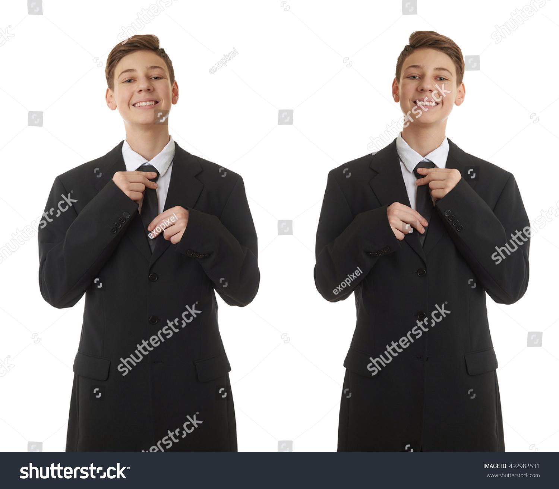 Set Cute Teenager Boy Back Business Stock Photo 492982531 ...