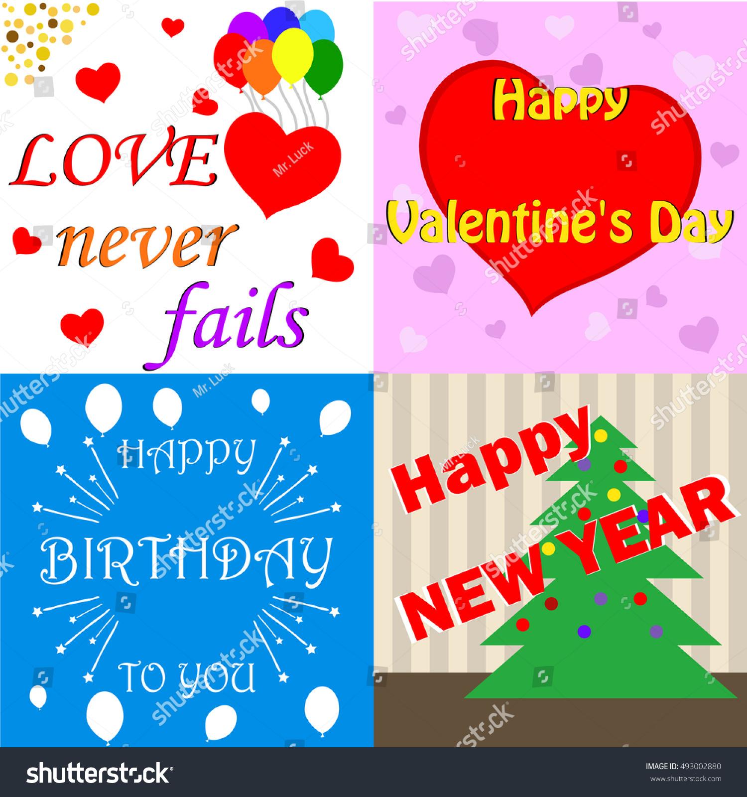 Cards Happy Valentines Day Happy Birthday Vector De Stock Libre De