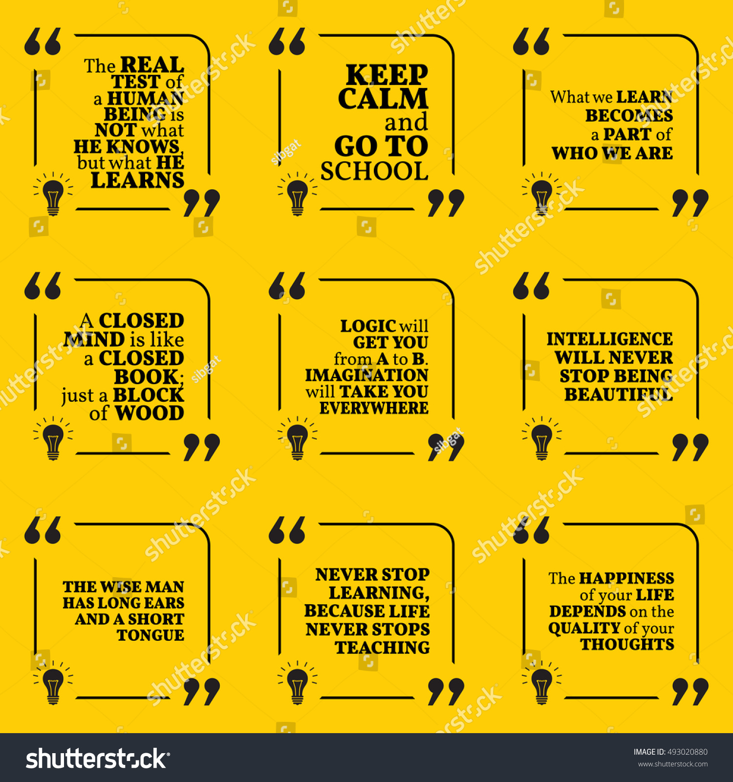 Education And Life Quotes Set Motivational Quotes About Learning School Stock Vector