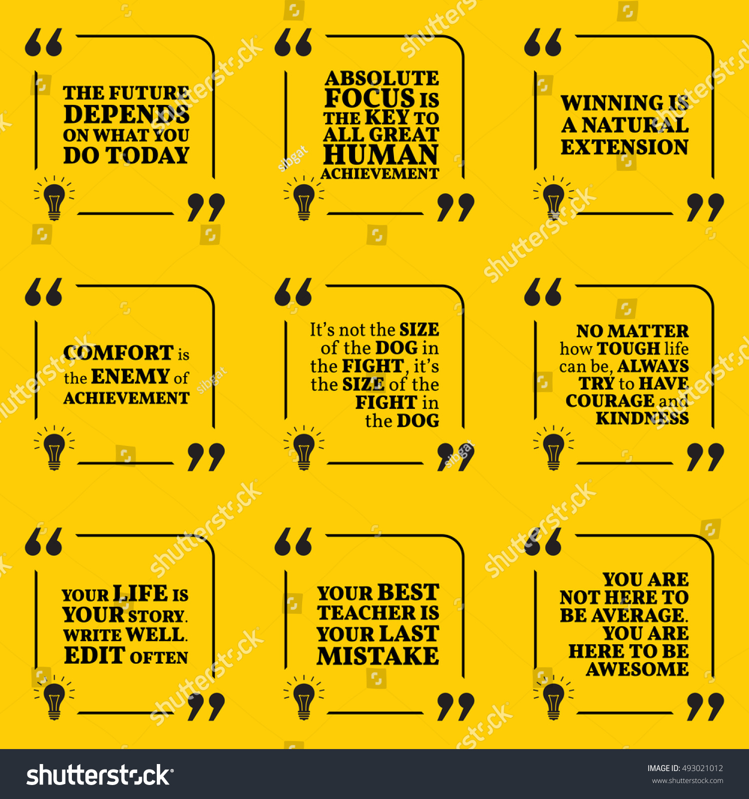 Set Motivational Quotes About Future Goals Stock Vector Royalty