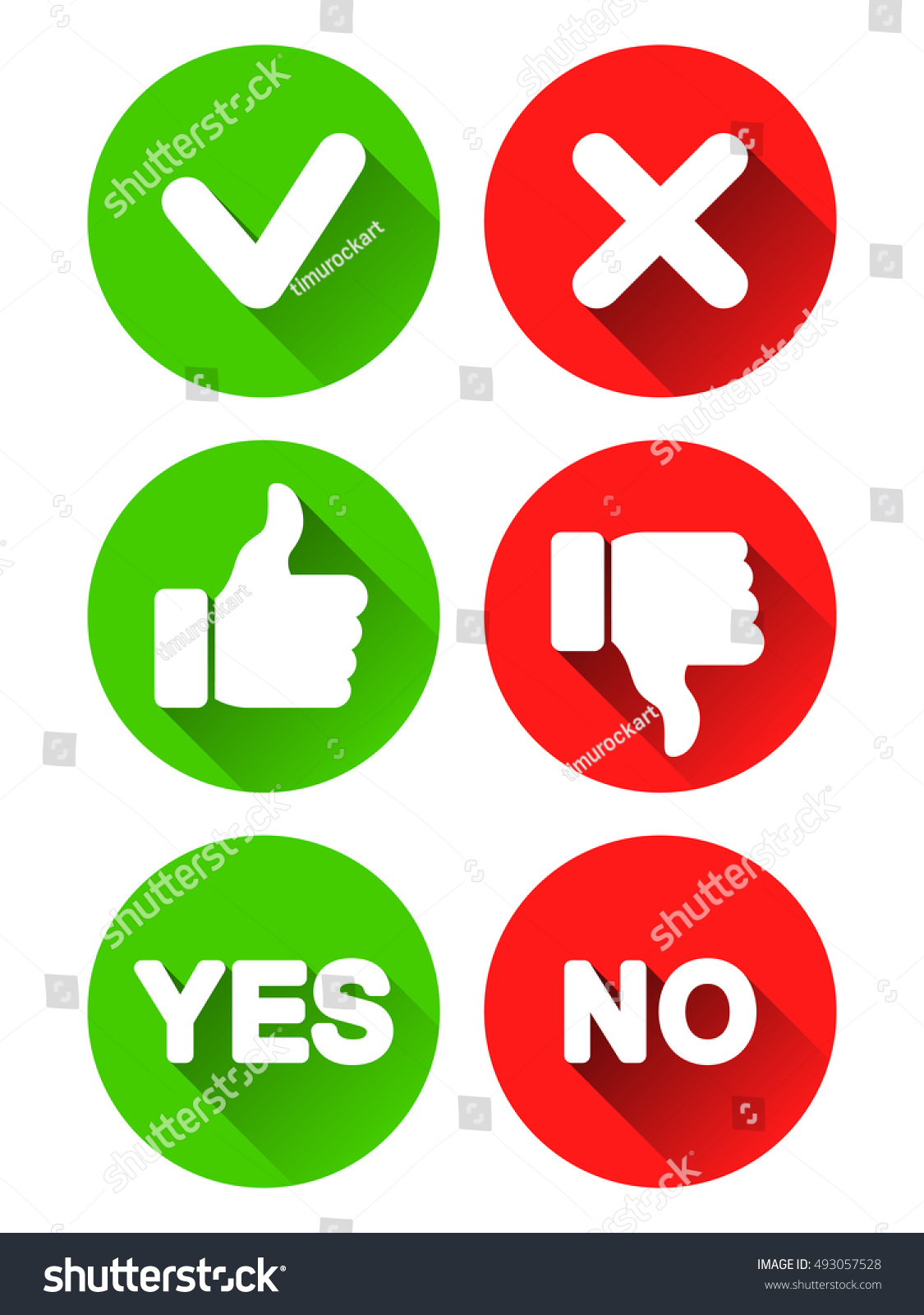 Collection Different Yes No Buttons Round Stock Vector