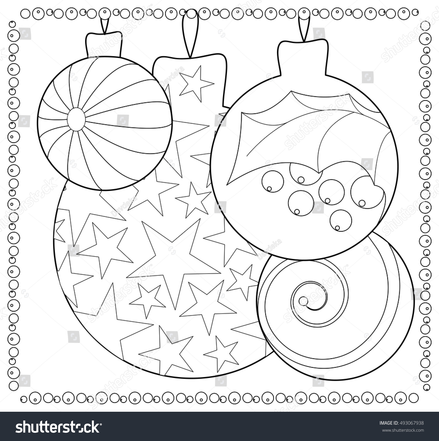 Christmas Fir Tree Ornament Coloring Page Stock Vector 493067938 ...