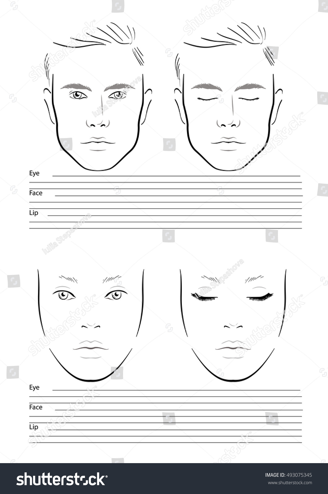 face chart makeup artist blank template men and woman vector illustration