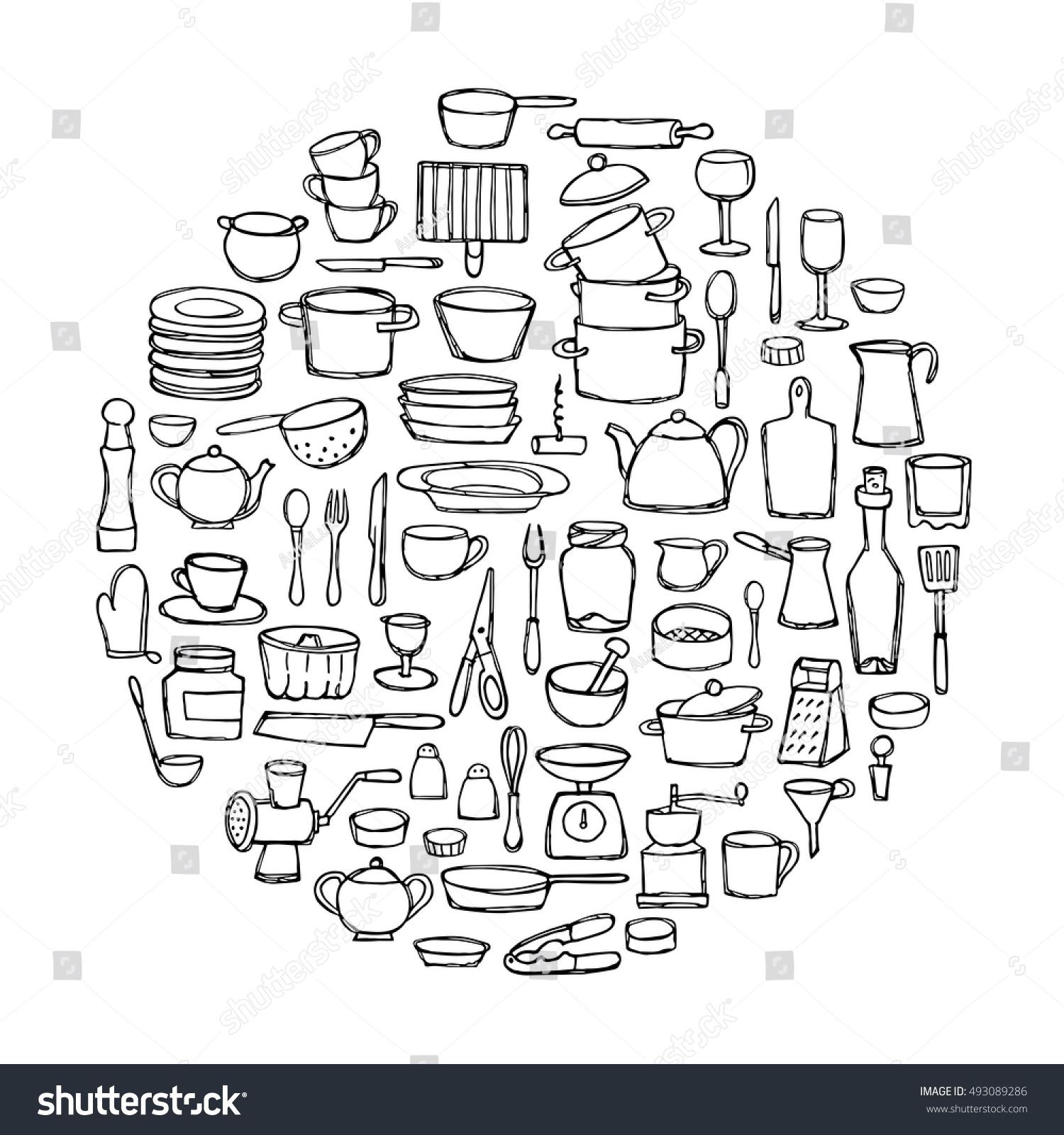 set hand drawn kitchen doodles circle stock vector 493089286