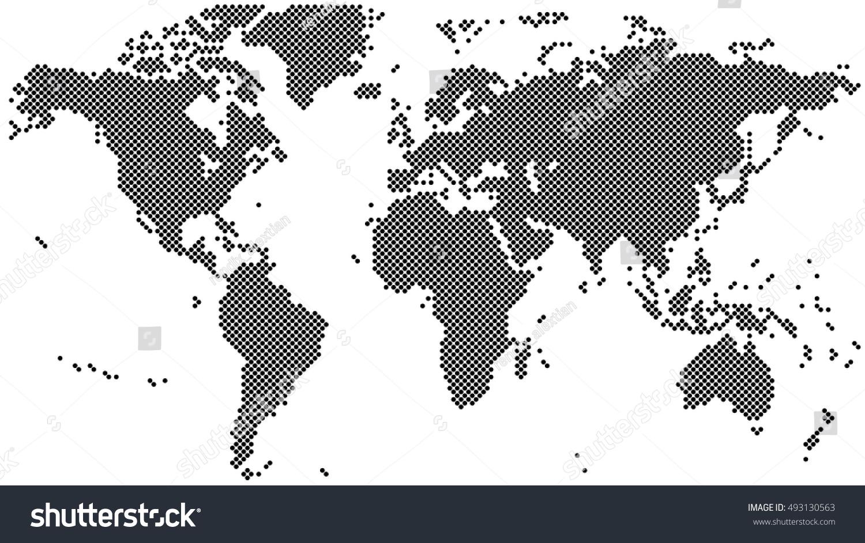 Black halftone world map vector illustration stock vector 493130563 black halftone world map vector illustration gumiabroncs Gallery