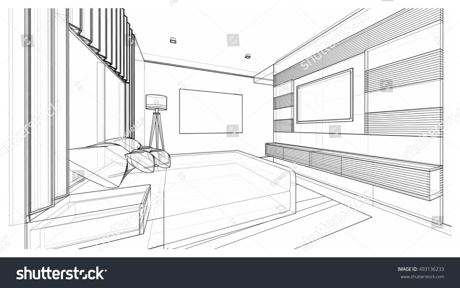 Modern bedroom perspective drawing - Interior Design Of Modern Style Bedroom 3d Wire Frame Sketch Perspective