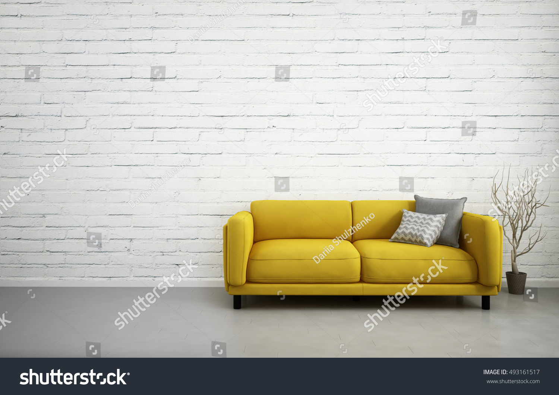 3 D Illustration Empty White Interior Yellow Stock Illustration ...