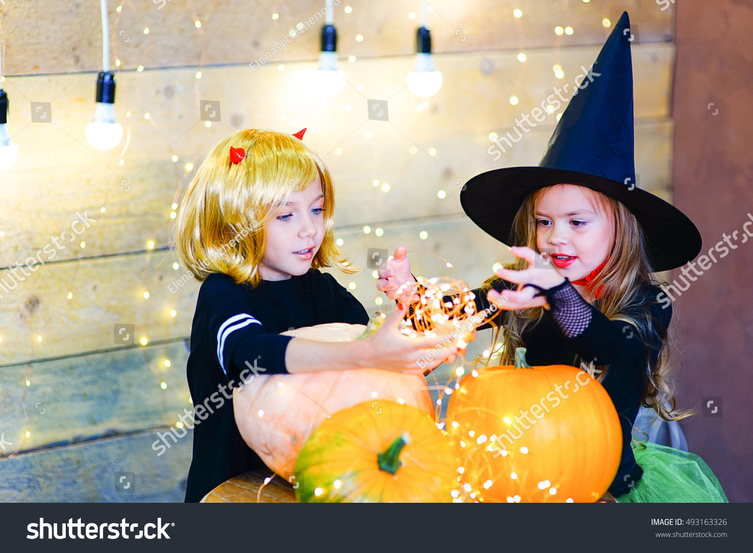 Happy Group Witch Children Pirate Demons Stock Photo 493163326 ...