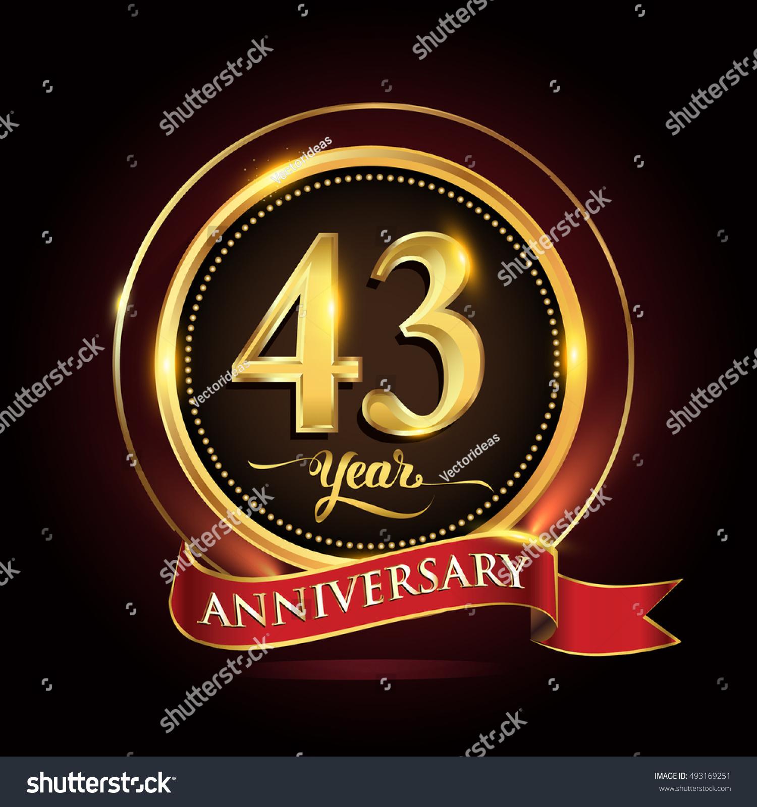 Celebrating 43rd Anniversary Template Logo Golden Stock Vector