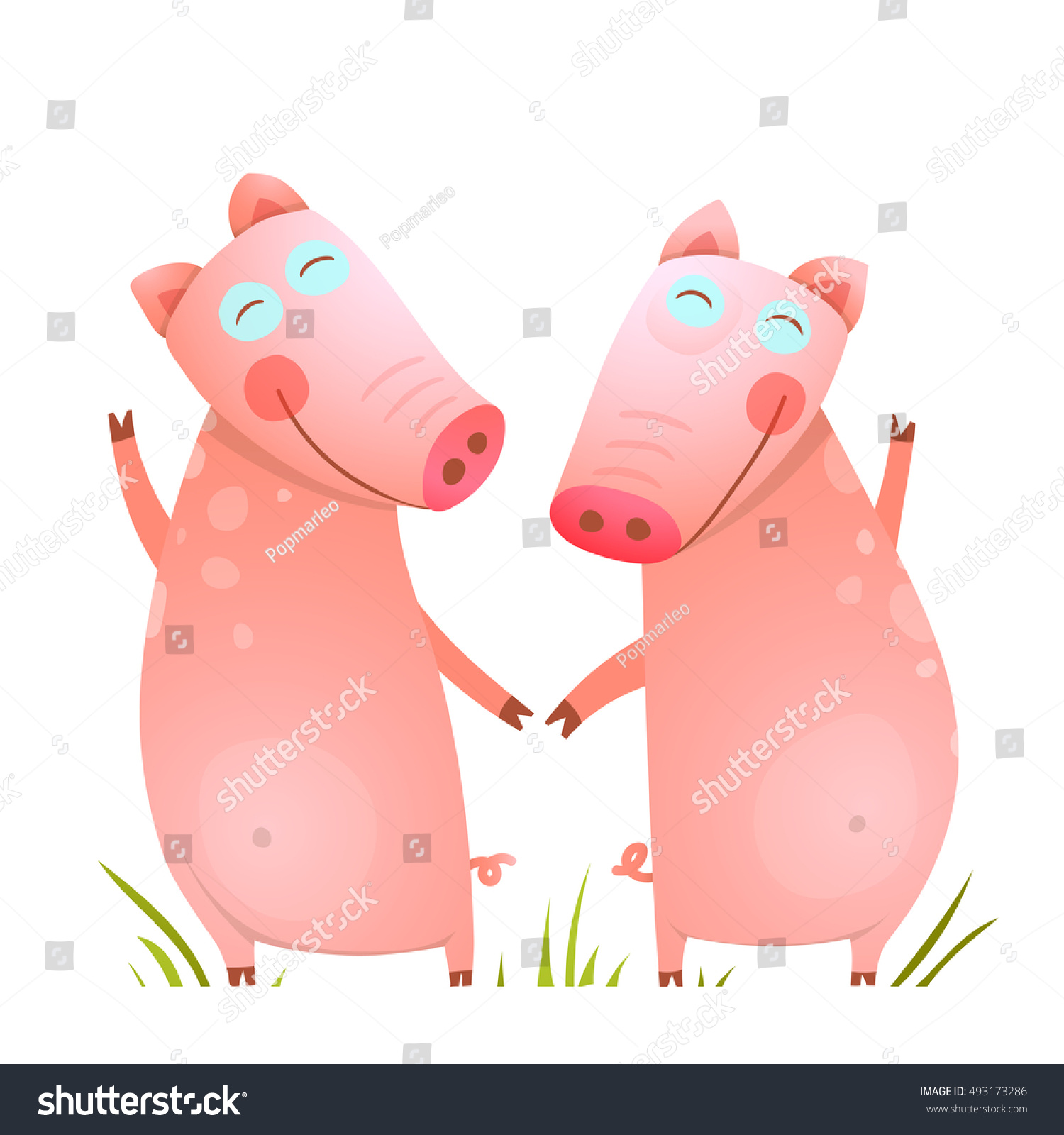 baby small pigs cute friends playing stock vector 493173286