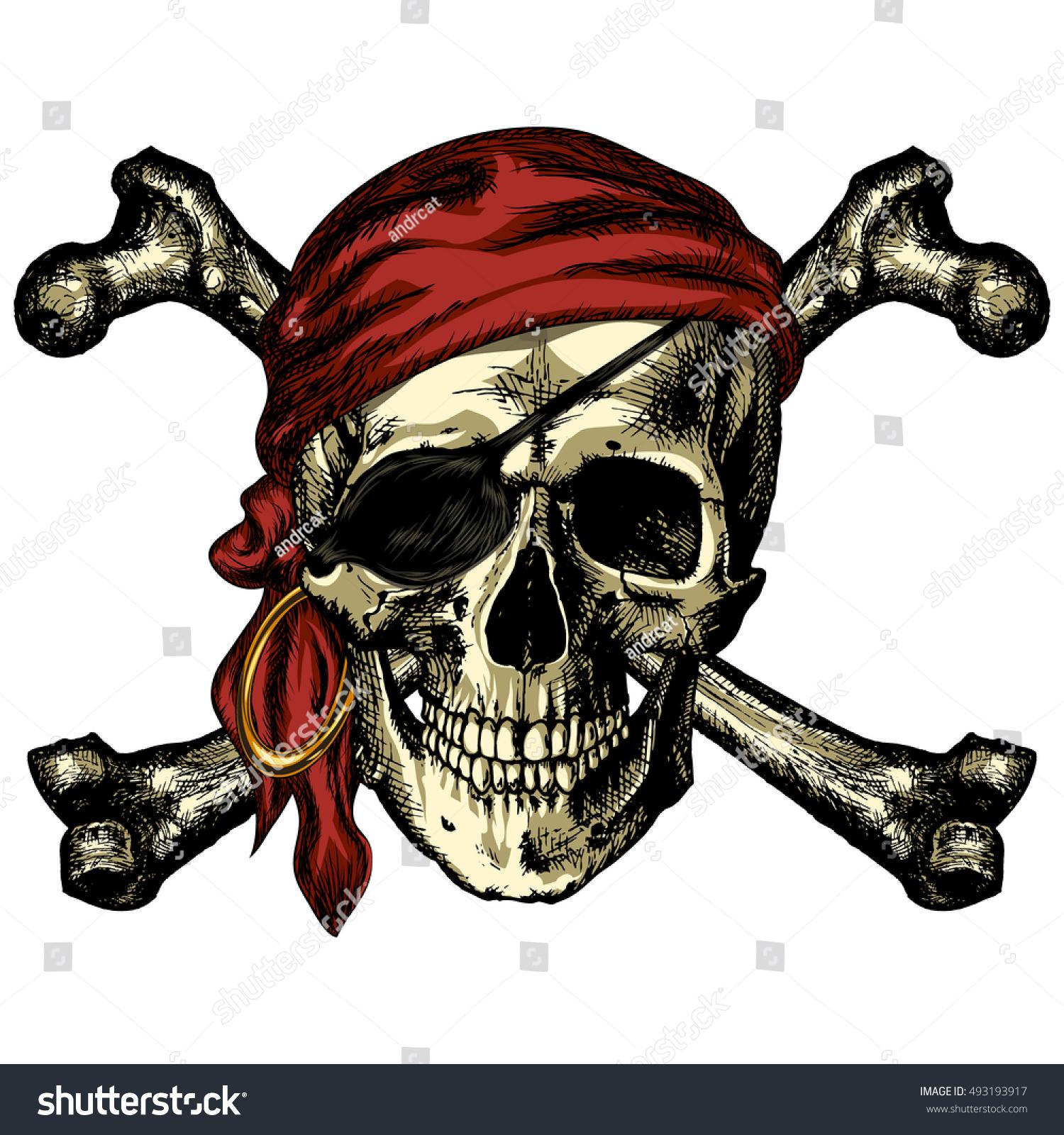 pirate skull crossbones bandana earring on stock vector