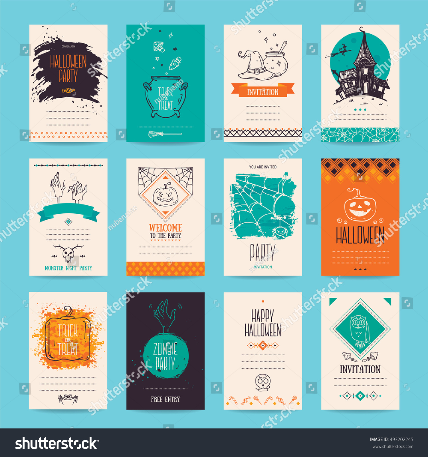Halloween Party Invitation Greeting Card Flyer Stock Vector ...