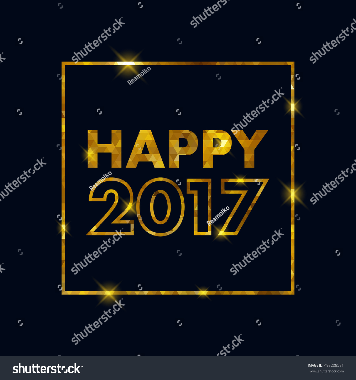 Golden glow 2017 new year background illustration. Calendar greeting card design typography template. Square frame with stars and sparkles. #493208581
