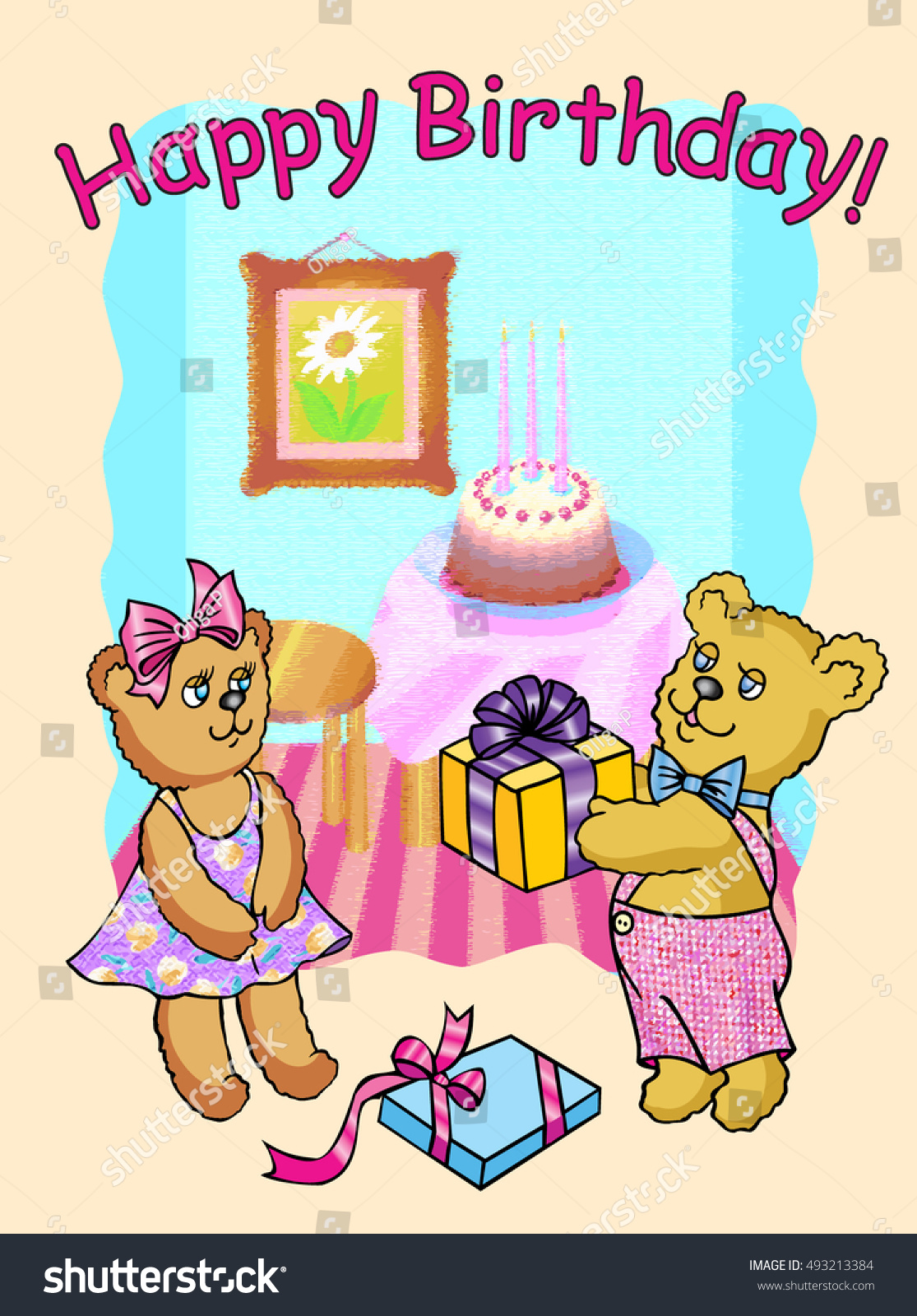 Happy Birthday Bear Gives A Gift To His Girlfriend Vector Illustration Greeting Card
