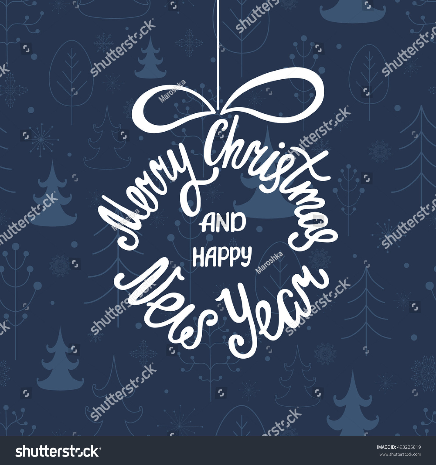 Merry christmas happy new year handdrawn stock vector 2018 handdrawn inscription for greeting card or invitation round stopboris Image collections