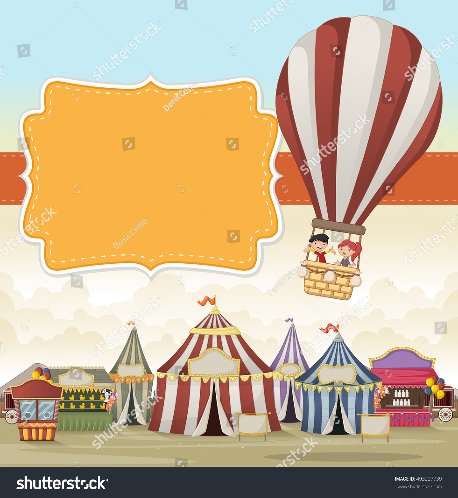 Cartoon Kids Inside A Hot Air Balloon Flying Over Circus Vintage Carnival Background