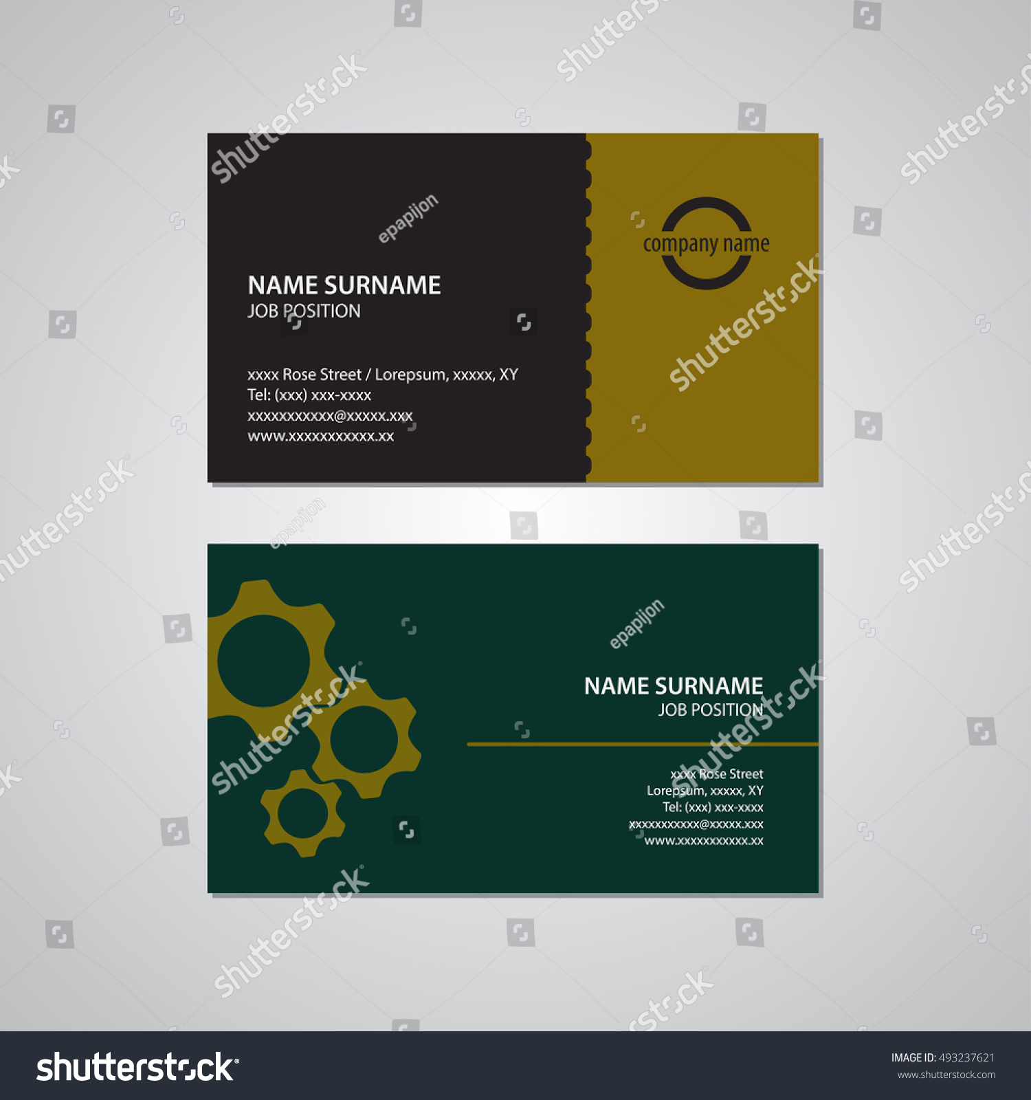 Set Two Business Cards Gears Teeth Stock Vector