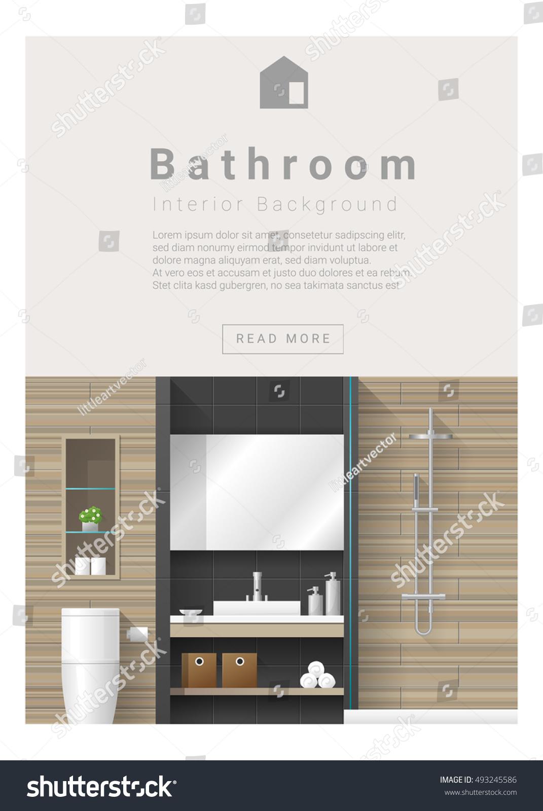 Interior Design Modern Bathroom Banner Vector Stock Vector (2018 ...