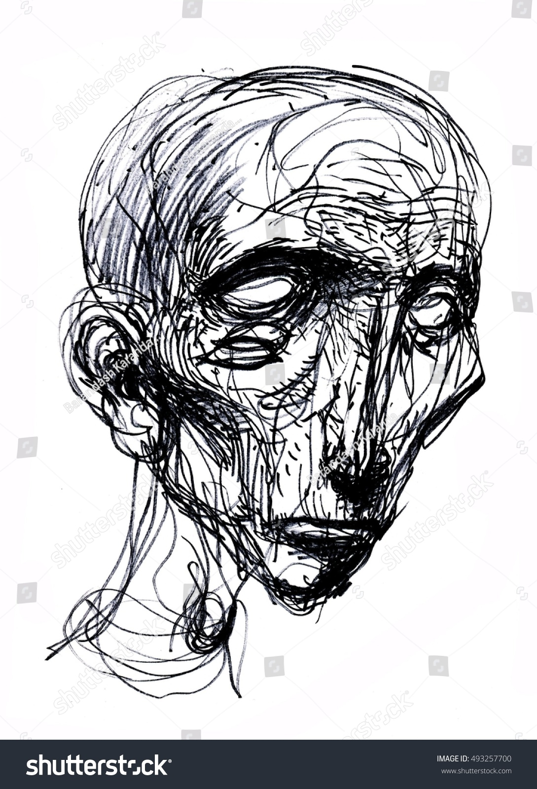 Abstract face portrait sketch art hand drawn illustration