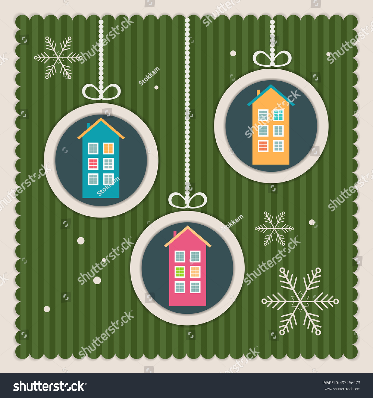 Real Estate Christmas Card Colorful Houses Stock Vector (Royalty ...