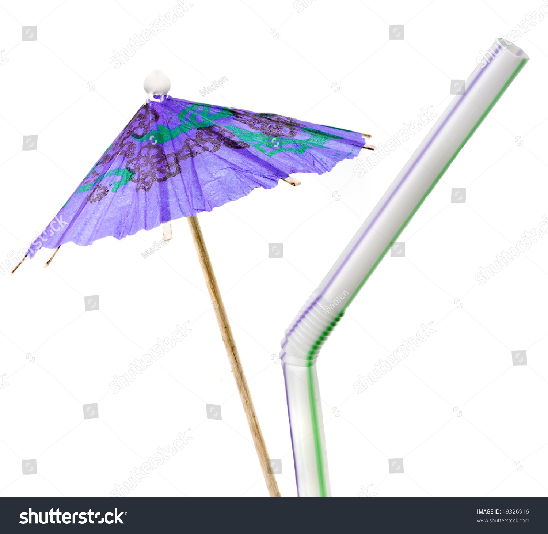 cocktail umbrella drinking straw stock photo 49326916