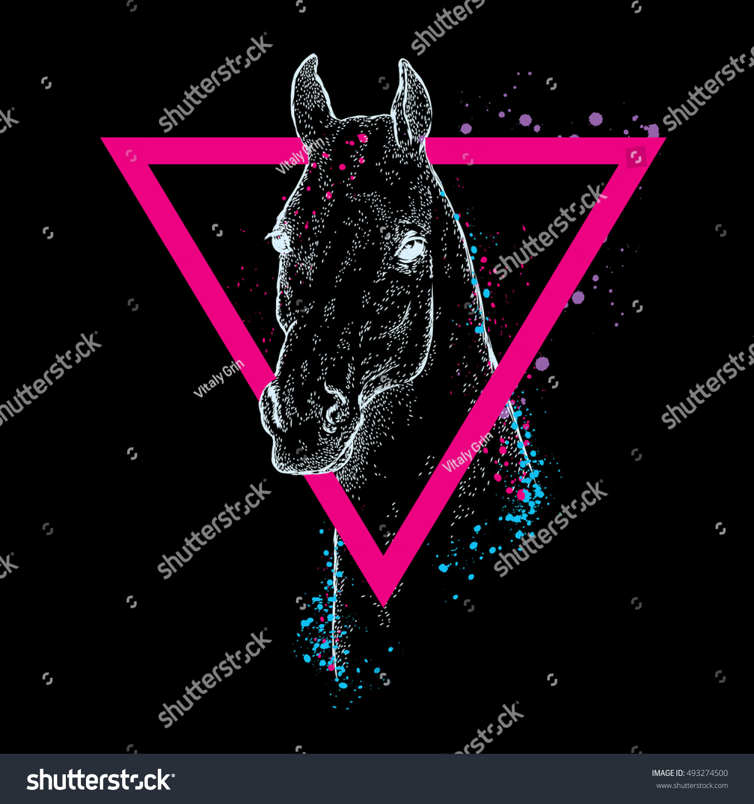 Beautiful Horse Triangle Vector Illustration Greeting Stock Vector