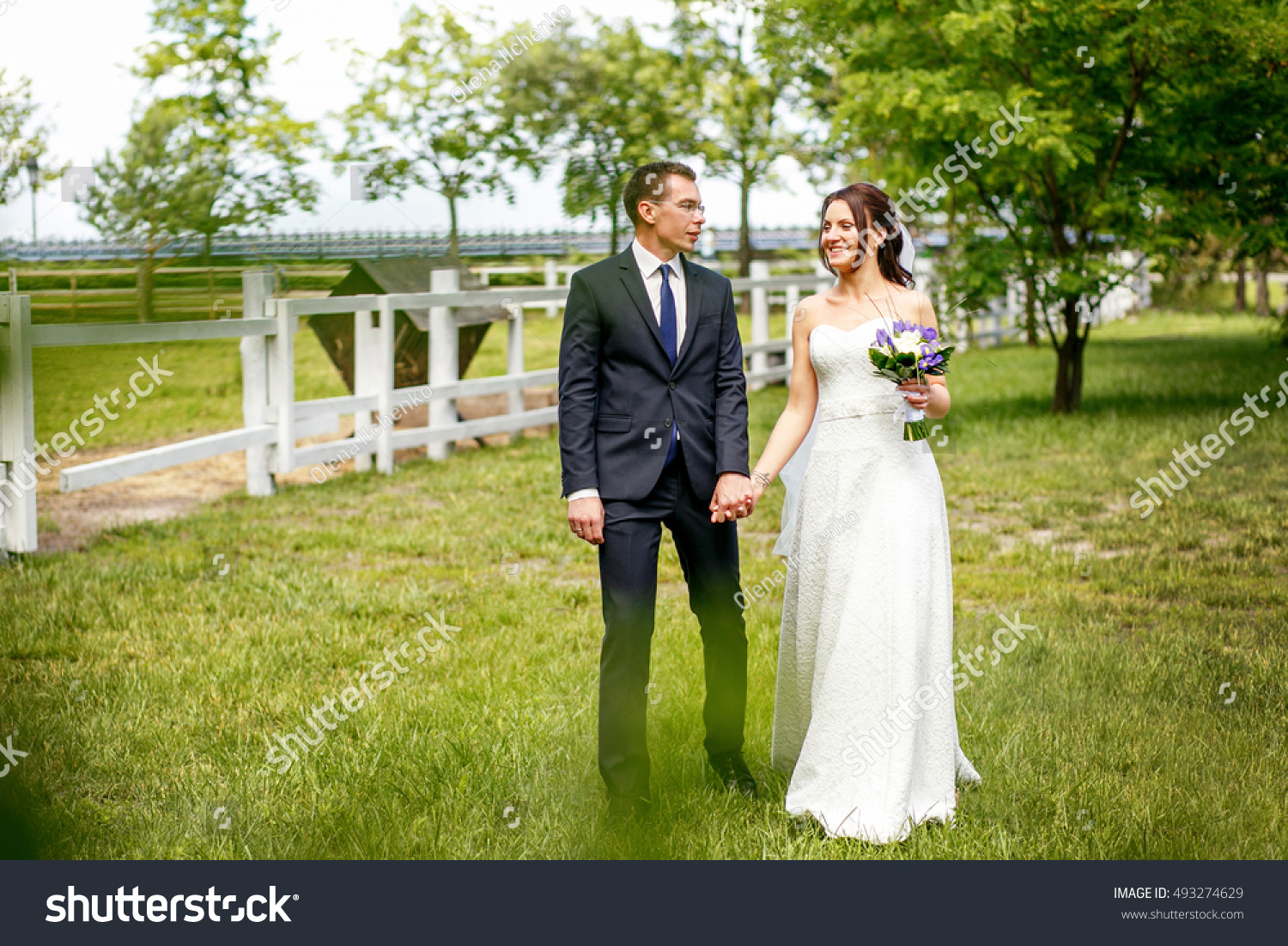 Bride Groom Walking Beautiful Park Near Stock Photo Edit Now 493274629