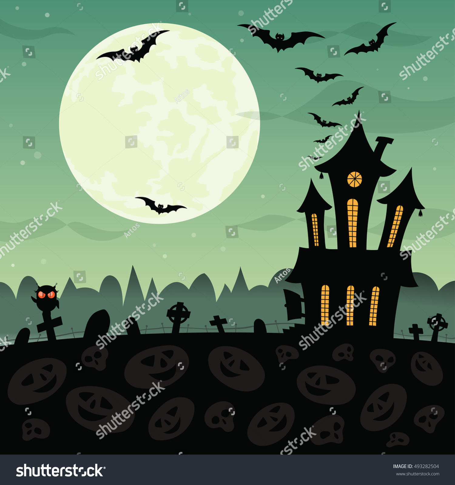 Halloween Party Background Haunted House Graves Stock Illustration ...