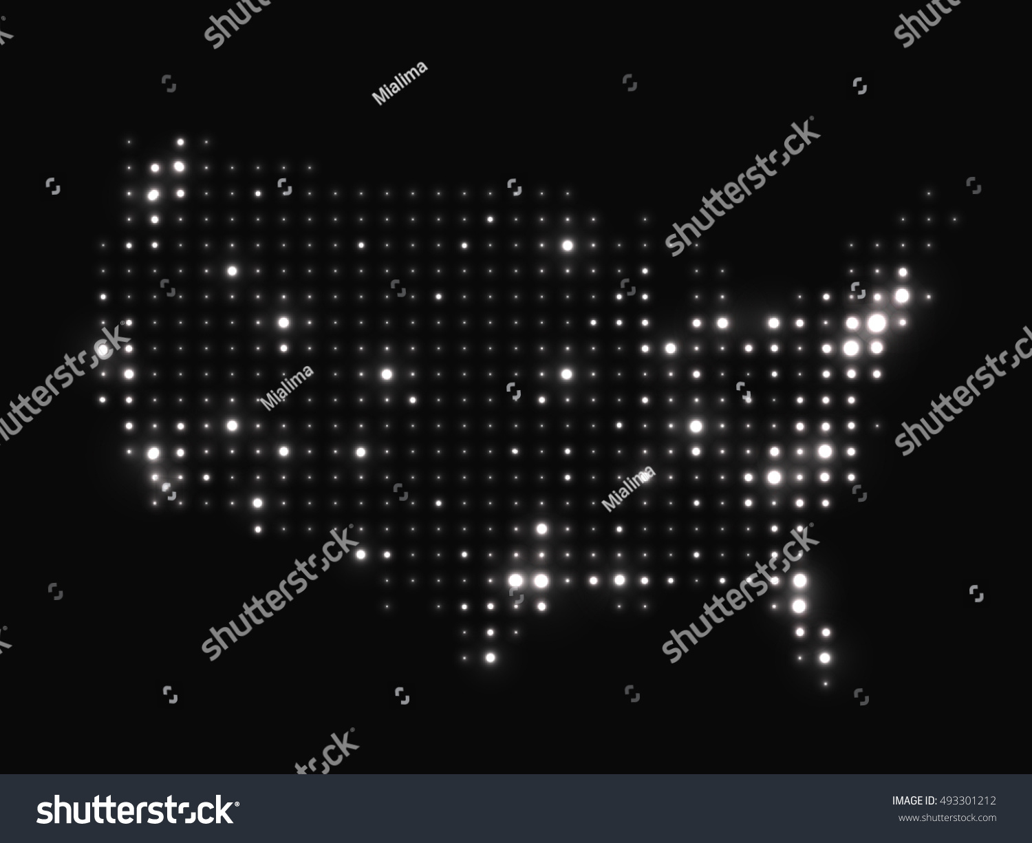 Dotted Night Map United States America Stock Illustration - Us map at night