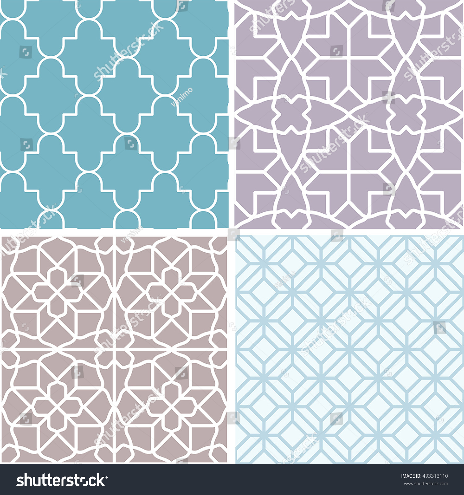 vector set seamless patterns abstract backgrounds stock vector