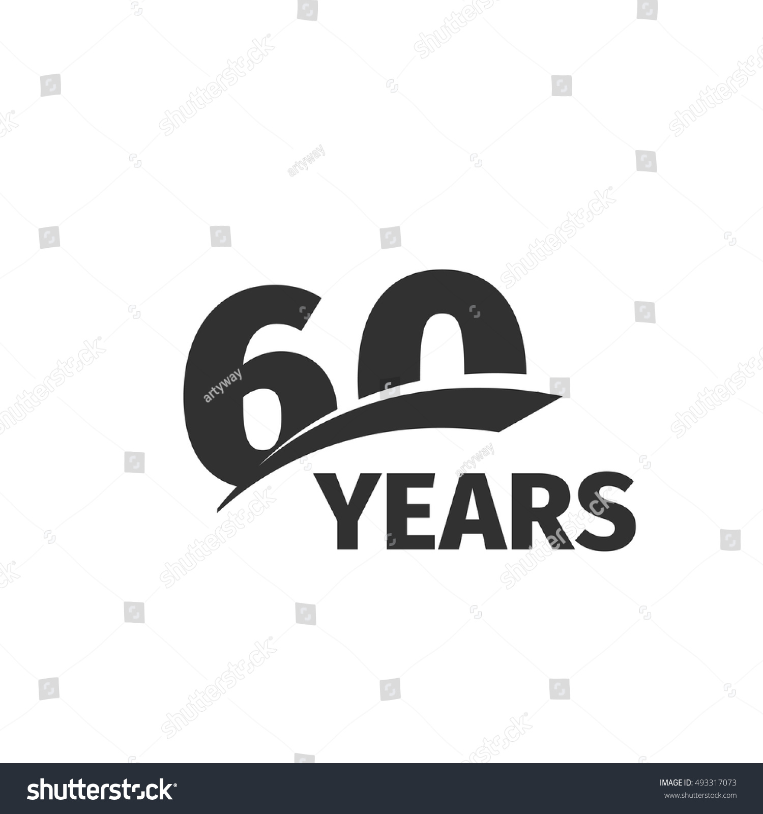 isolated abstract black 60th anniversary logo stock vector