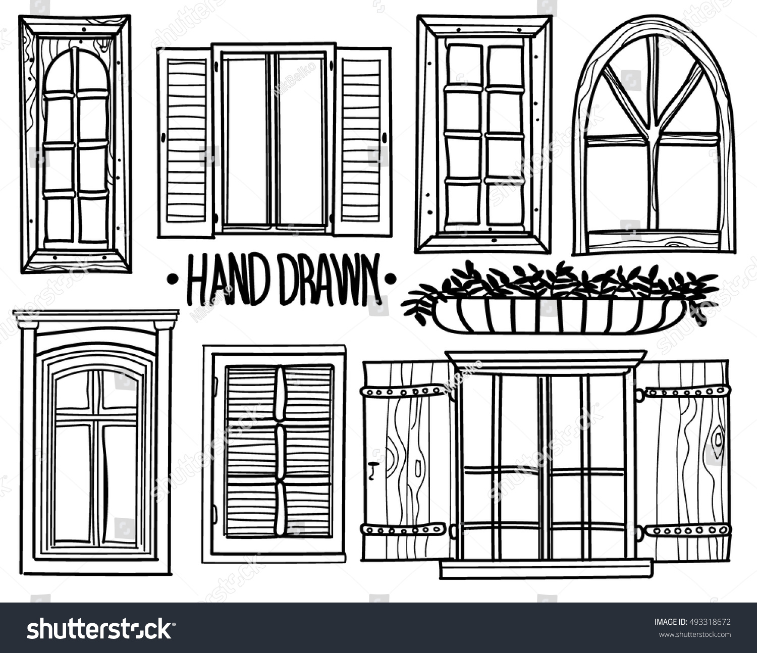 vintage window drawing. window. a set of drawings by hand. shuttered windows, open modern vintage window drawing