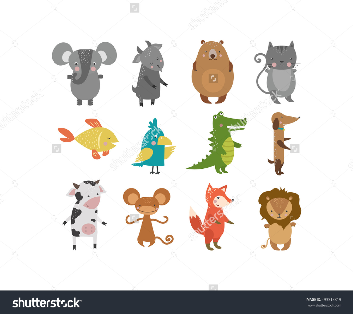 Cute animals vector character isolated on white backgrund Pretty kids style wild and farm pet animals character isolated Some animals