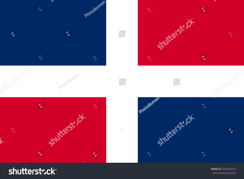 Flag Dominican Republic Correct Size Proportions Stock Vector