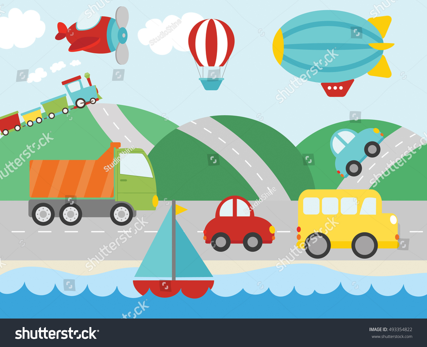 Cute Transportation Stock Vector 493354822