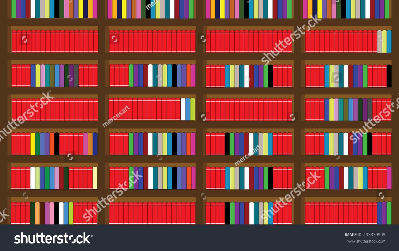 Bookshelf Full Of Books Illustration Vector
