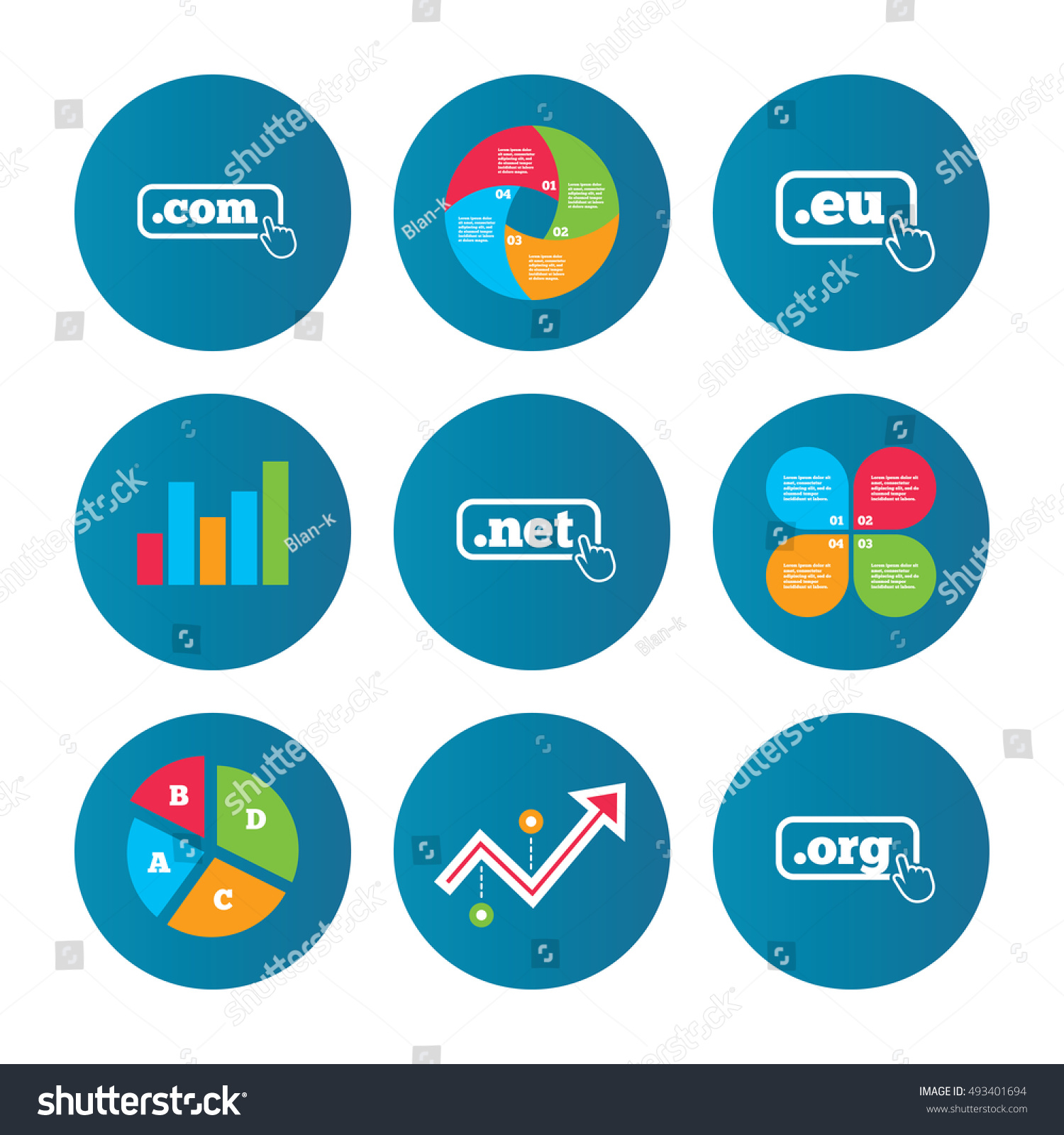 Business pie chart growth curve presentation stock vector 493401694 business pie chart growth curve presentation buttons top level internet domain icons geenschuldenfo Gallery