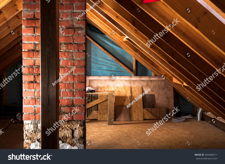 Attic renovation thermal insulation stock photo 493406311 shutterstock - Attic thermal insulation ...