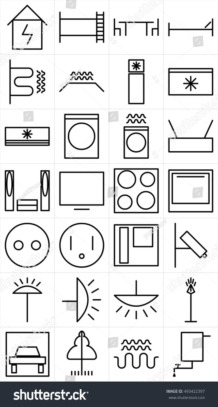 Set Black White Symbols Home Appliance Stock Vector 493422397