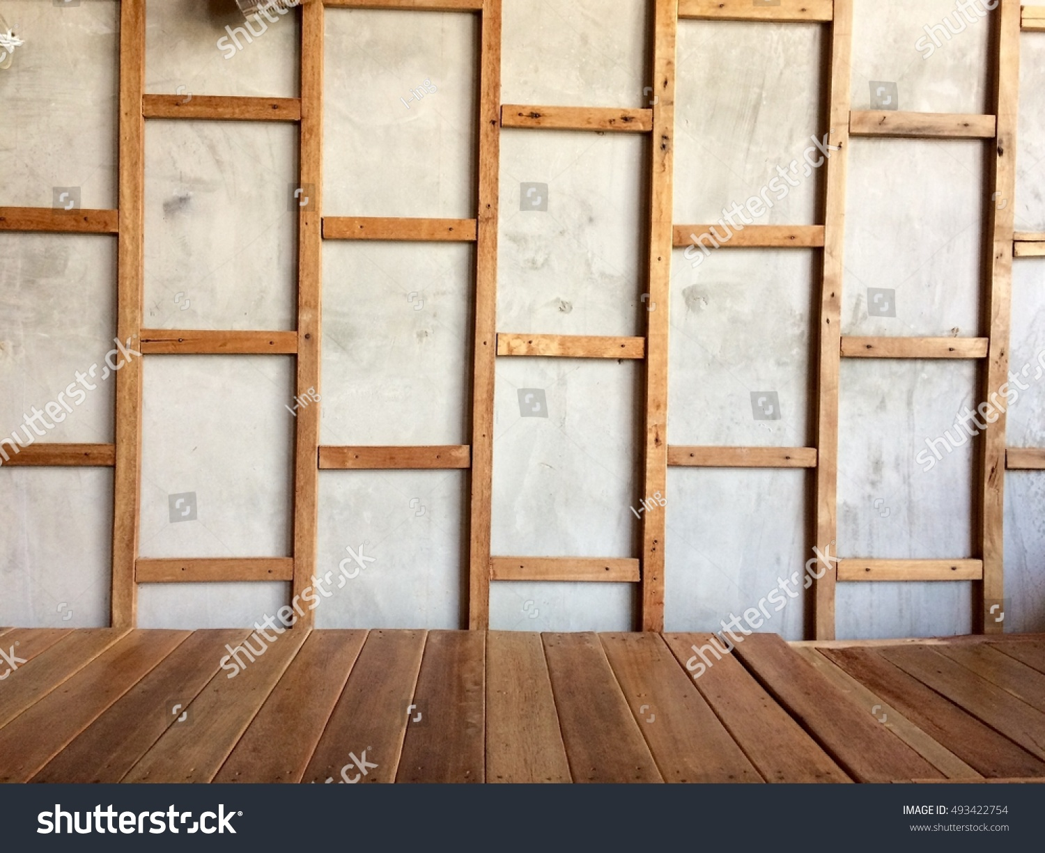 Wooden Frame On Wall Wooden Floor Stock Photo (Royalty Free ...
