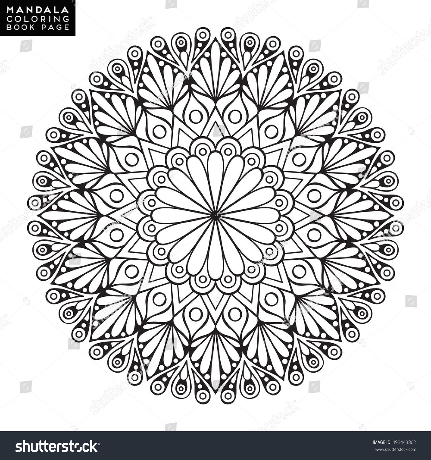 Flower Mandala Vintage Decorative Elements Oriental Stock Vector 493443802
