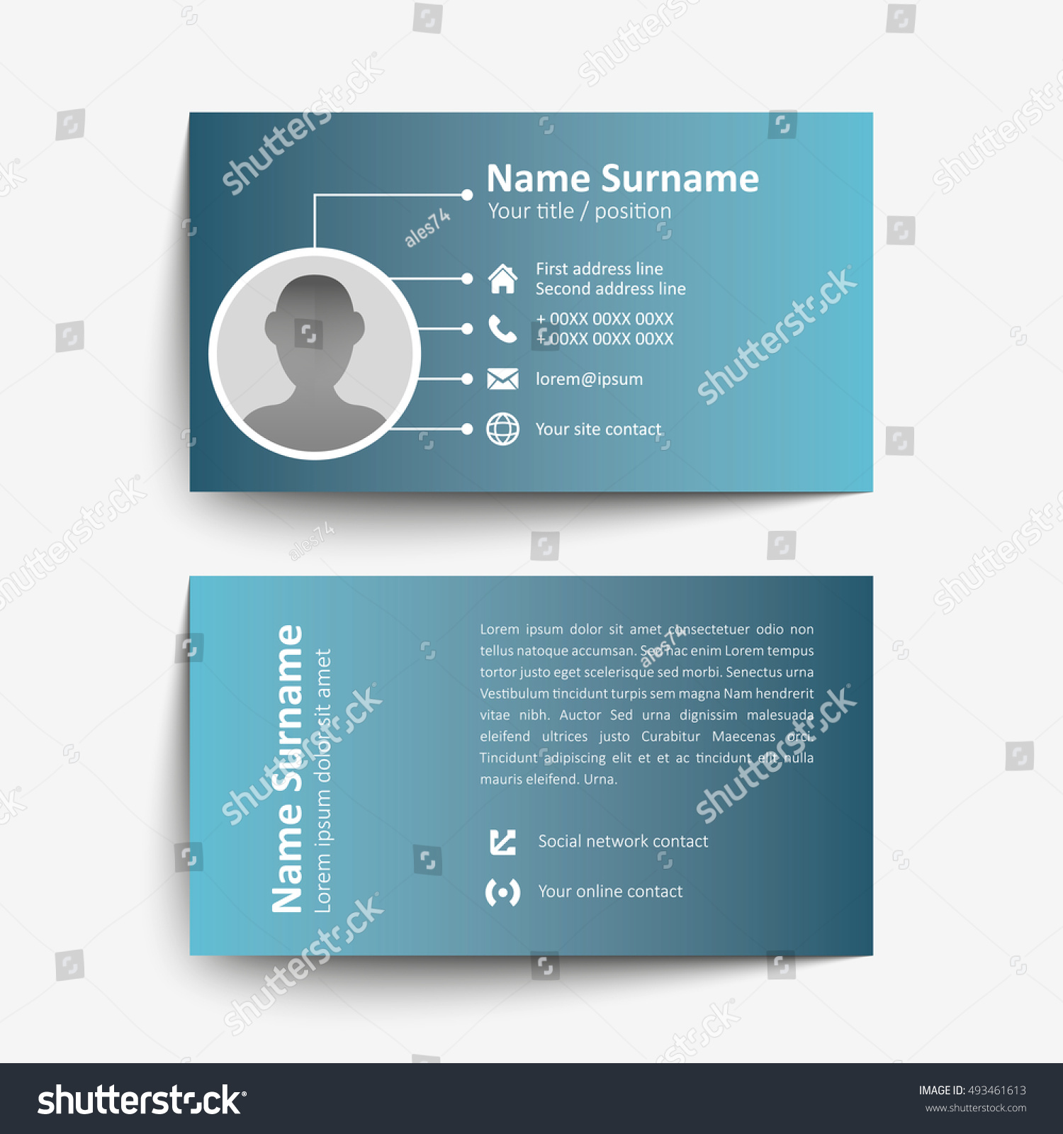Modern Simple Business Card Set Template Stock Vector