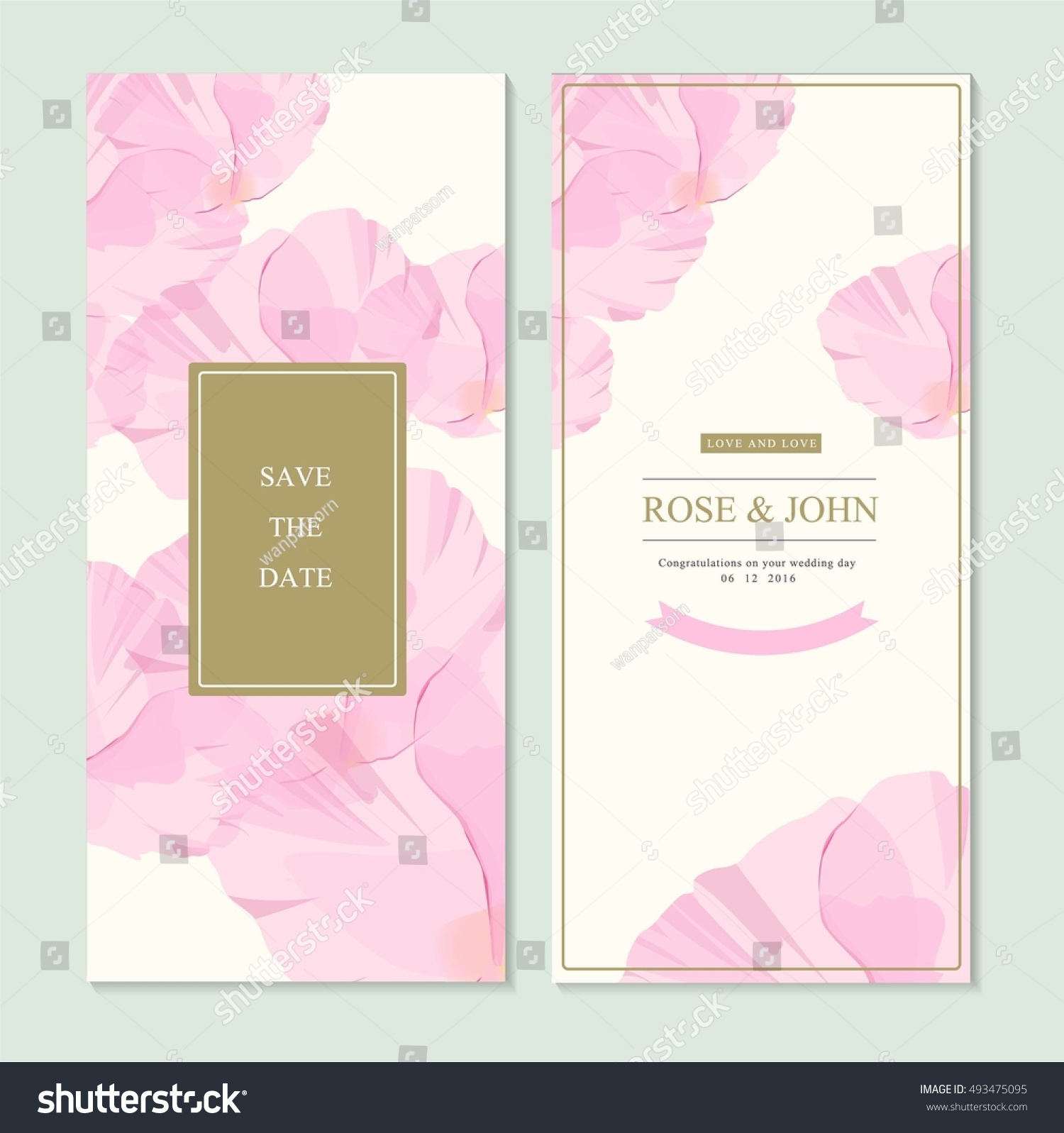 Wedding invitation card suite flower templates em vetor stock wedding invitation card suite with flower templates save the date cards flower vertical banners stopboris Image collections