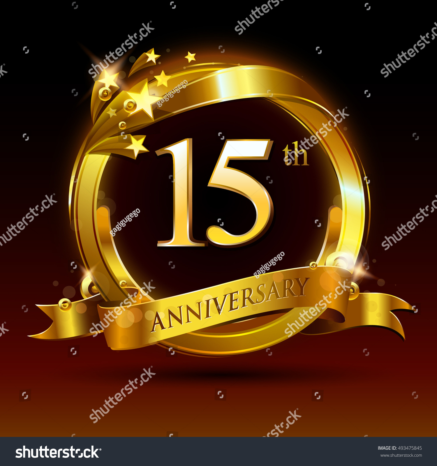 15th Golden Anniversary Logo 15 Years Stock Vector Royalty Free